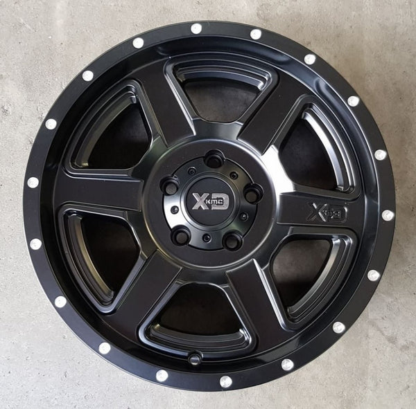 4 new KMC XD832 FUSION Black 18x9 5/127 18p JK Jeep 72.6 NEW mags