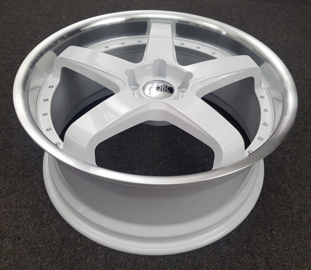 Bathurst 20x8.5 40p 5/120 White with Polished Dish suit BMW 3 Series & Commodore