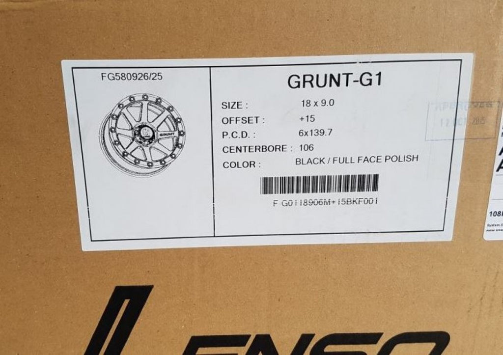 Lenso GRUNT 18x9 6/139.7 15p Black MACHINED FACE great for 4x4 Toyota Hilux