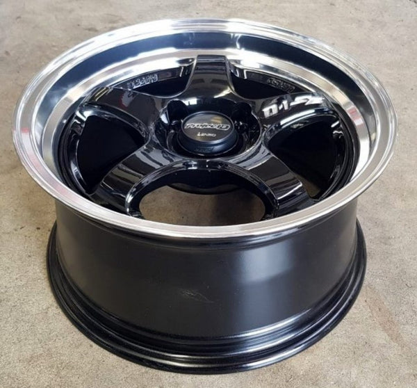 Lenso PD-SE 15X7.5 4/100 35P Gloss Black with Machined Polished Lip mags x 4