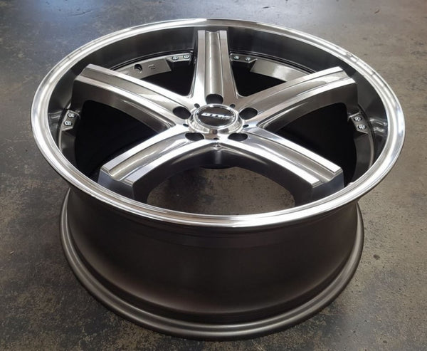 DTM OTTO 20x8.5 5/114.3 35p Gunmetal polished new mags auction is for 4 new rims