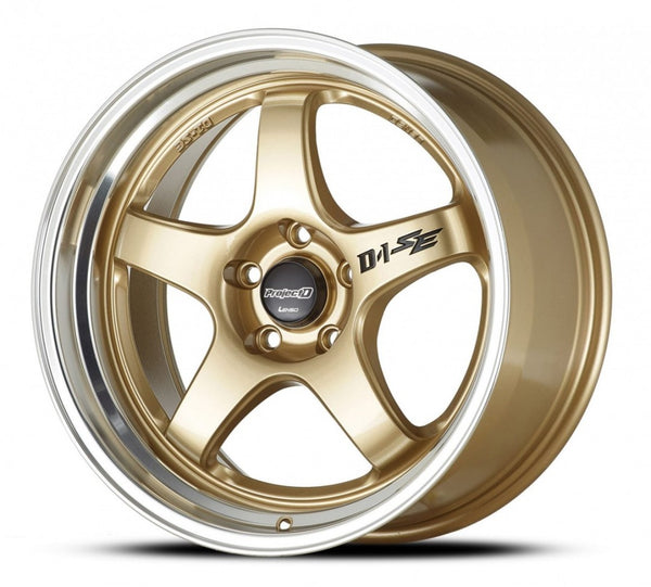 18x8.5 Lenso PD-SE 40p 5/100 Gold with Polished Lip wheels DEMO SET