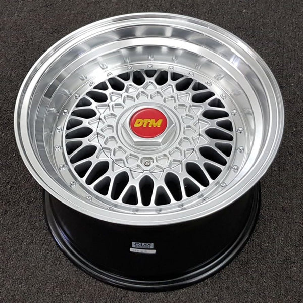 DTM Old Skool 15x8 20P 15X9 15P 4/100 4/114.3 Full Silver Machined Polished Lip