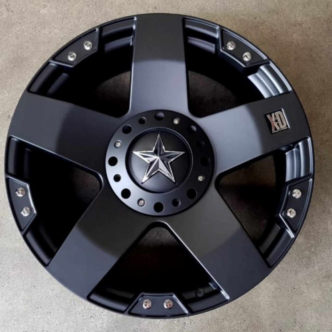 KMC Rockstar 22x9.5 6/139.7 and 6/135 12p offset Full Matt Black Clearance stock