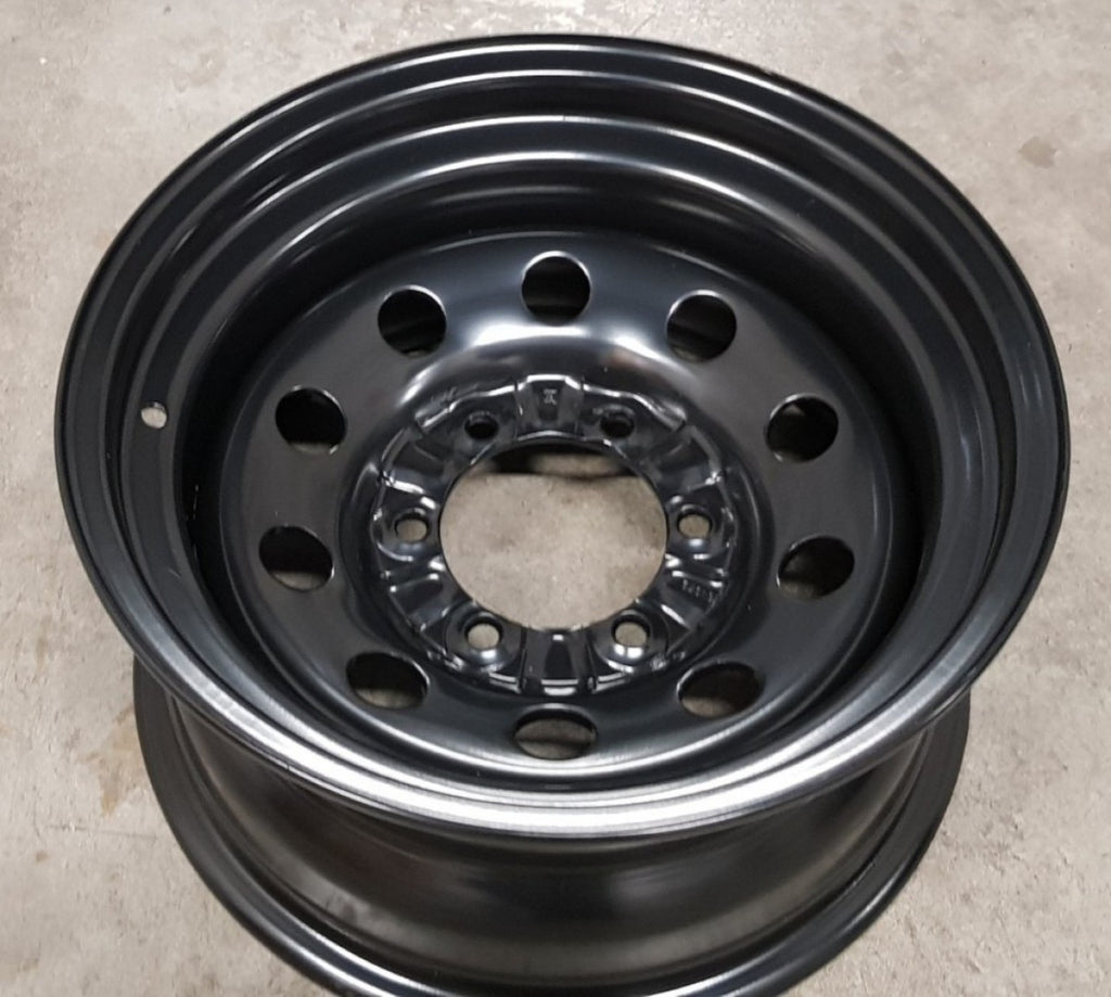 Dynamic Black Steels 16x8 -22 6/139.7 round hole heavy duty Hilux Landcruiser