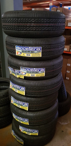 "4 brand new Accelera 185/65R14 86H sale on now be quick 4 new 14"" tyres for $295"