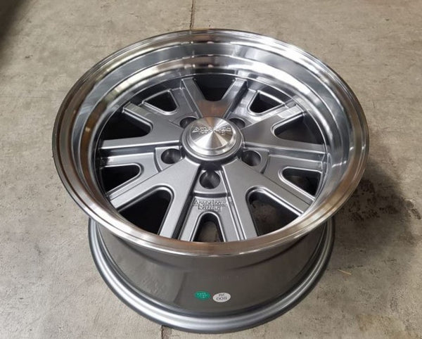 American Racing AR427 15x7 -16 offset 5/4.75 Grey with polished lip