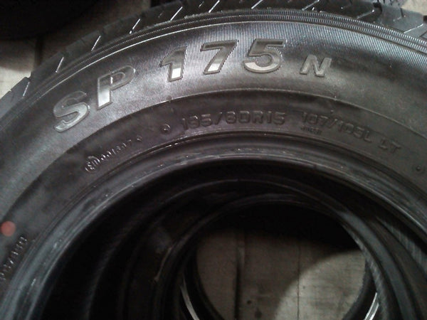 4x Dunlop SP175N 195/80R15 107/105LT 6mm free fitting in rthe buynow