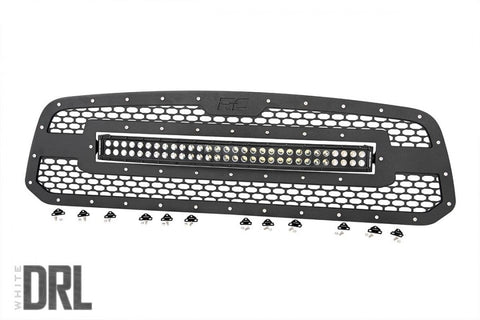 Dodge Mesh Grille | 30in Dual Row Black Series LED w/ Cool White DRL (13-18 Ram 1500)