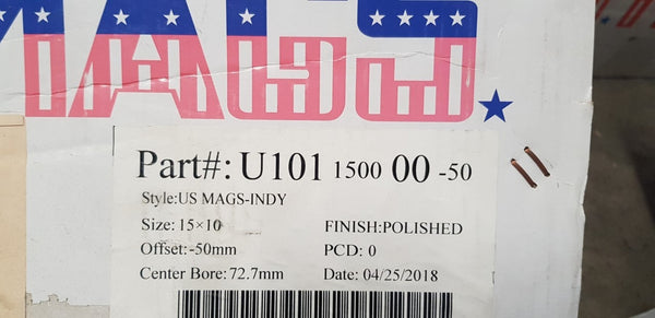 2 x New US Indy mags 15x10 Polished undrilled -50 offset Blank Clearance pricing