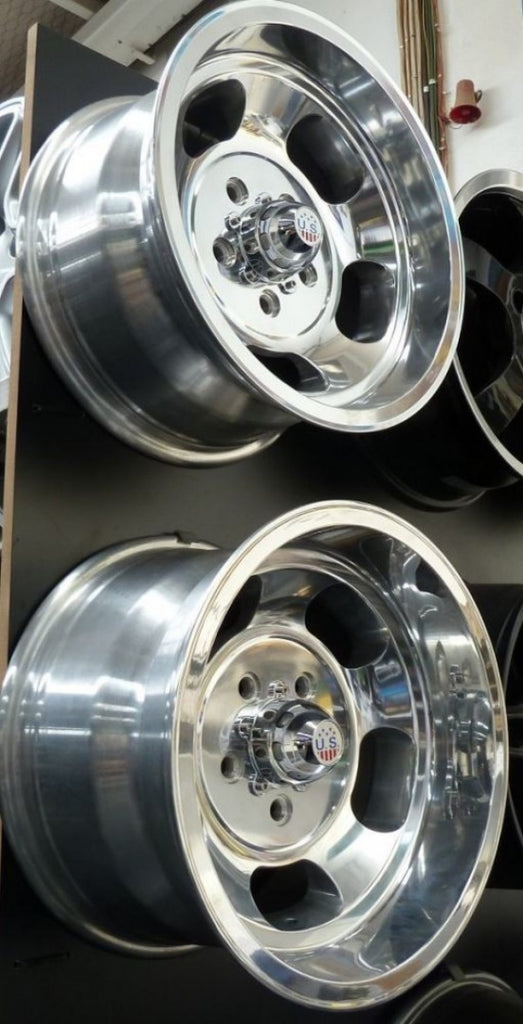 US Indy 15x8 and 15x9 5/4.75 Polished mags 4 x brand new mags staggered fit
