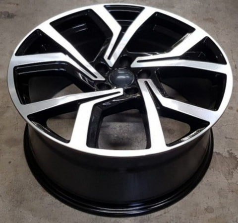 Carbon 5573 19x8.5 5/112 45p Gloss Black Machined Face suit VW Golf