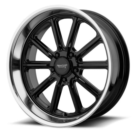 American Racing Rodder 18x8 & 18x9.5 5/4.75 0p Gloss Black Machine Polished Lip