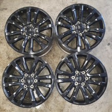 "Load image into Gallery viewer, 4 used 20"" mags Black edition Everest 20x8.5 6/139.7 55p GENUINE FORD RIMS"