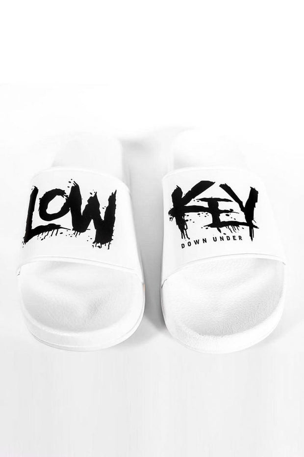 Lowkey OG Slides - White/Black - Lowkey Down Under Underground Streetwear Clothing Lifestyle Melbourne