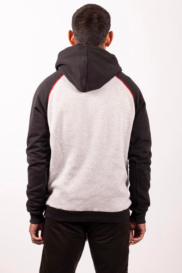Lowkey OG Red Line Hoodie - Heather Grey/Black/Red - Lowkey Down Under Underground Streetwear Clothing Lifestyle Melbourne
