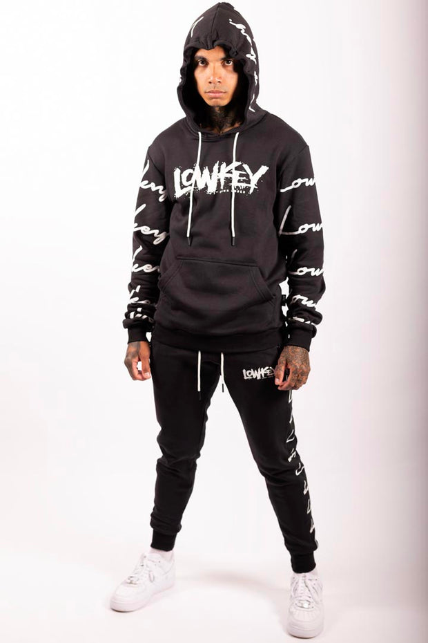 Lowkey Signature All Over Hoodie - Black - Lowkey Down Under