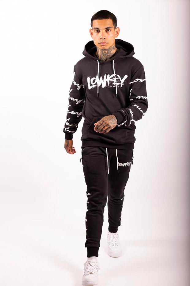 Lowkey Signature All Over Hoodie - Black - Lowkey Down Under Underground Streetwear Clothing Lifestyle Melbourne