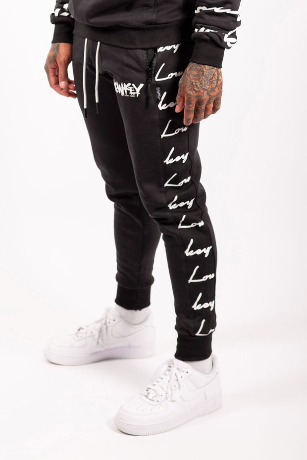 Lowkey Signature All Over Track Pants - Black - Lowkey Down Under Underground Streetwear Clothing Lifestyle Melbourne