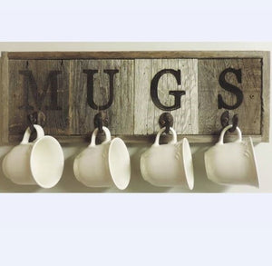 4 Hook Country Mug Holder Rack