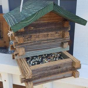 Repurposed Wood Log Cabin Bird Feeder