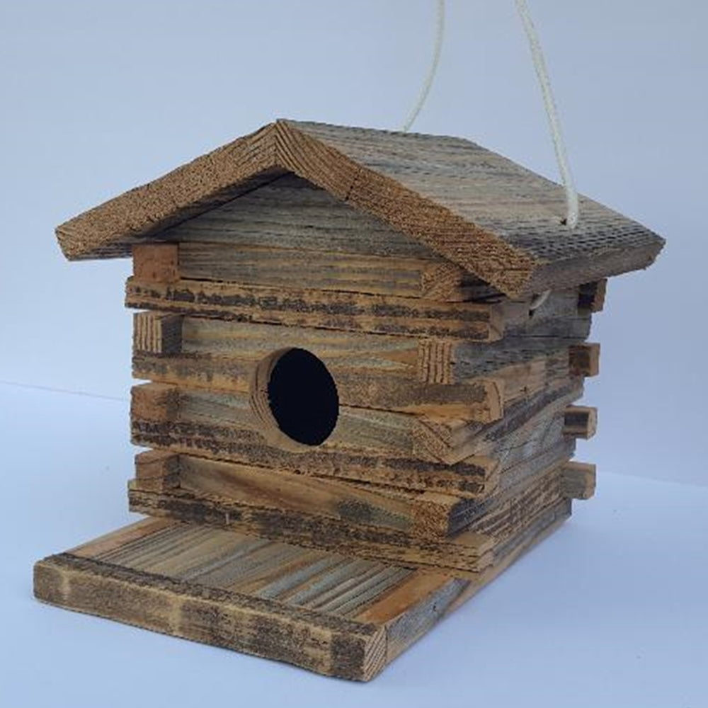 Repurposed Wood Log Cabin Bird House