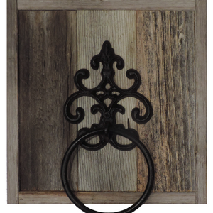 Reclaimed Barn Wood Hand Cast Iron Towel Ring