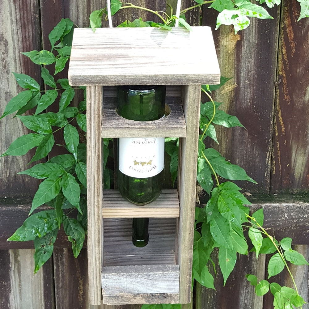 Repurposed Wine Bottle Bird Feeder