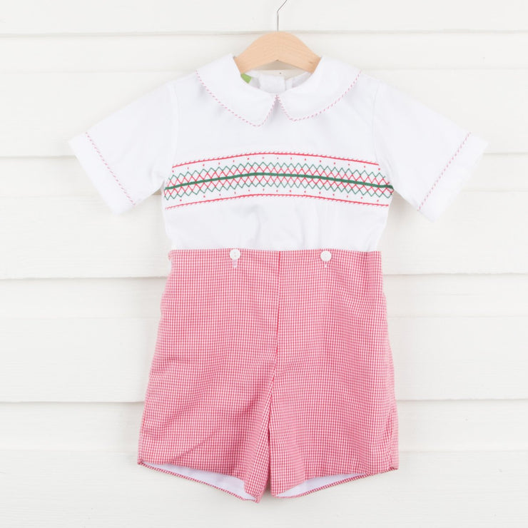 Smocked Geometric Button On Boy Shortall Red Gingham