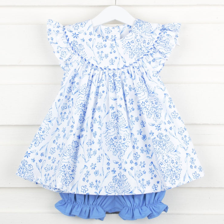 Bunny Blooms Lucy Bloomer Set White and Blue