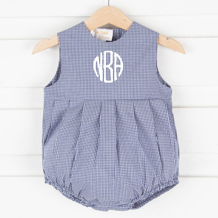 Navy Gingham Pleated Sun Bubble
