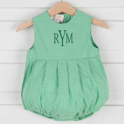 Unisex Pleated Bubble Green Gingham
