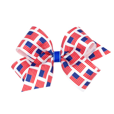 Flag Printed Grosgrain Bow