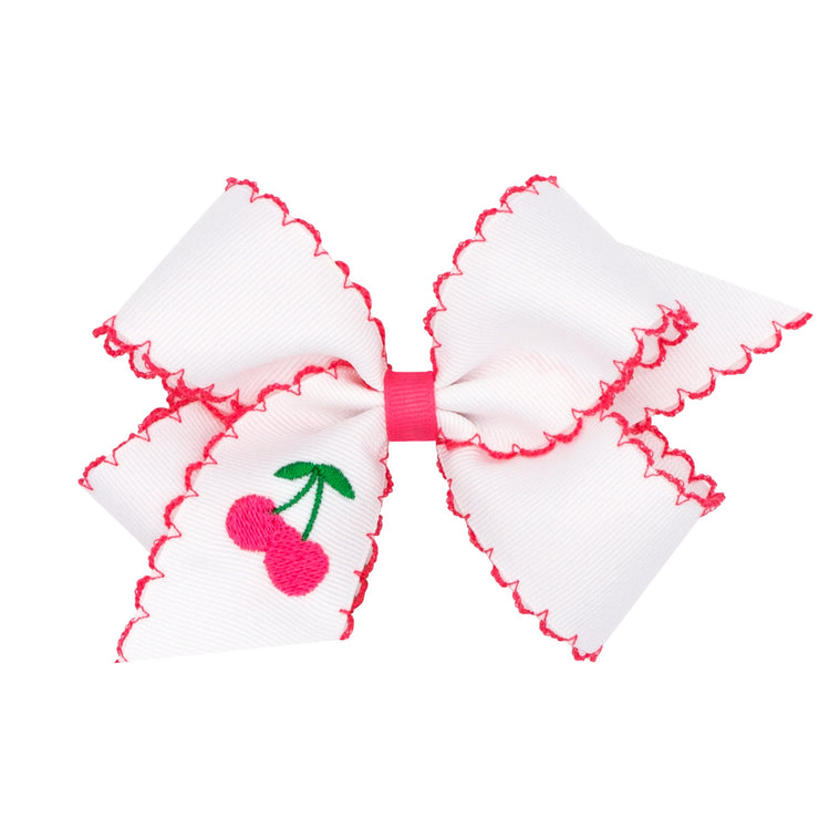 Embroidered Fruit Moonstitch Grosgrain Bow