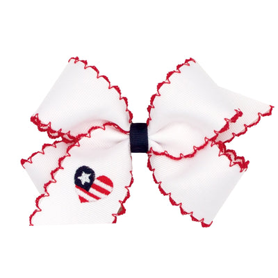 Embroidered Patriotic Grosgrain Bow