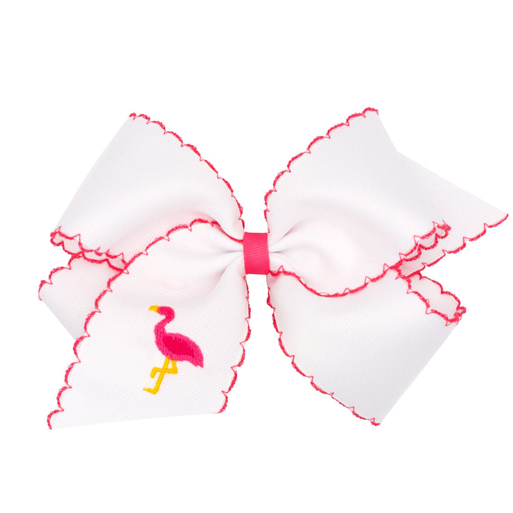 Flamingo Embroidered Moonstitch Grosgrain Bow