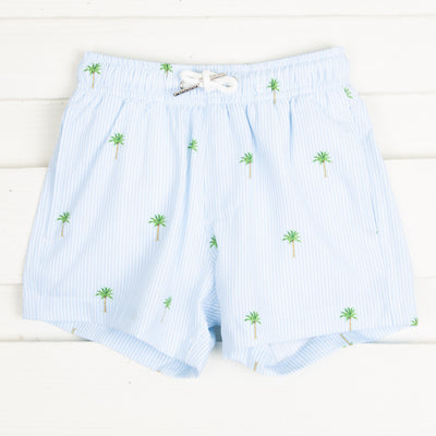 Palm Tree Stripe Swim Trunks Light Blue