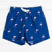 Pink Flamingo Swim Trunks Navy