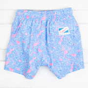 Light Blue and Pink Floral Swim Trunks