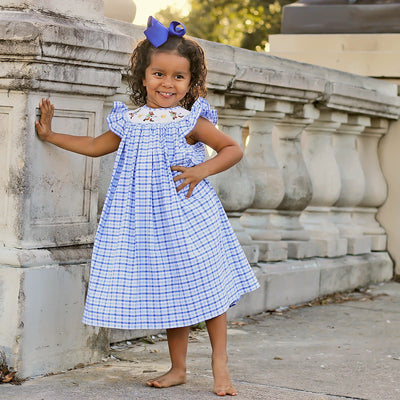 Storybook Rabbit Smocked Dress Blue Plaid