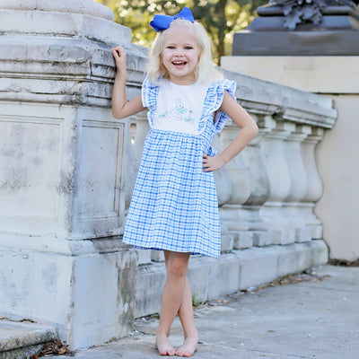 Storybook Rabbit Embroidered Dress Blue Plaid