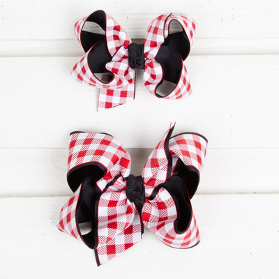 Red and Black Gingham Bow