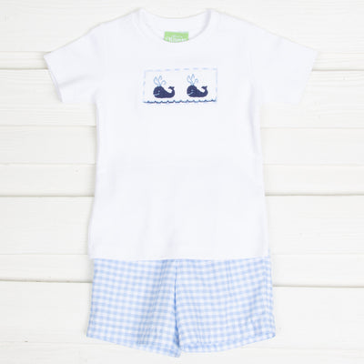 Smocked Whale Short Set Light Blue Gingham