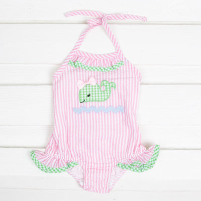Whale One Piece Ruffle Swimsuit Light Pink Stripe