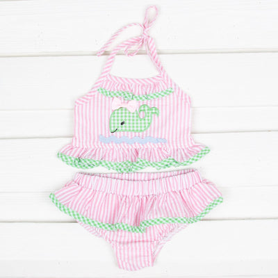 Two Piece Whale Ruffle Swimsuit Light Pink Stripe