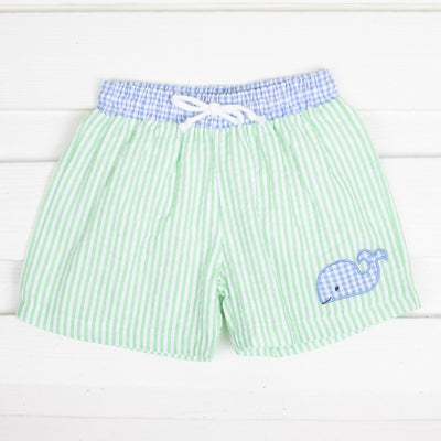 Whale Boy Swim Trunk Light Green Stripe