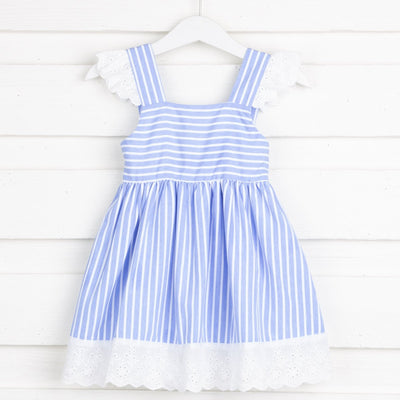 Lace Sleeve Dress Blue and White Stripe
