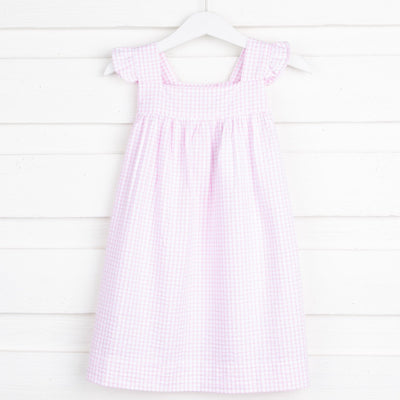 Light Pink Windowpane Amy Dress Seersucker