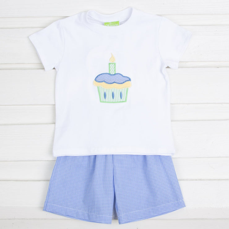 Royal Gingham Cupcake Short Set