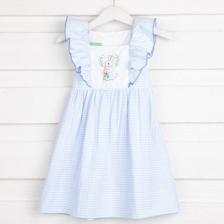 Embroidered Storybook Rabbit Waterfall Dress Blue Windowpane Seersucker